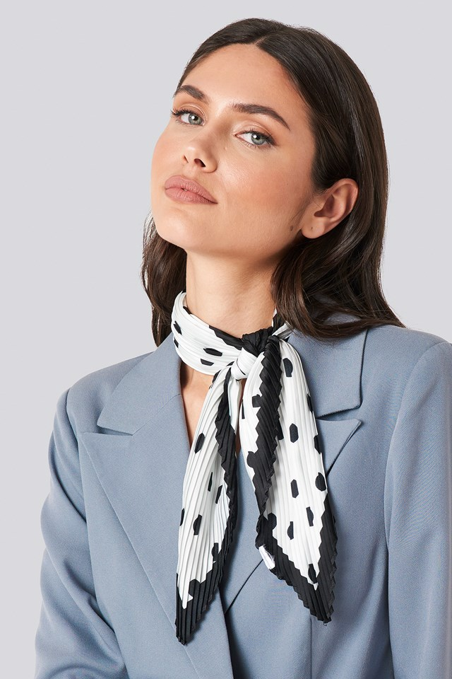 Dotted Textured Scarf White