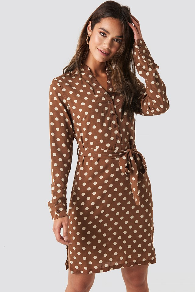 Dotted Tie Waist Slit Dress Brown
