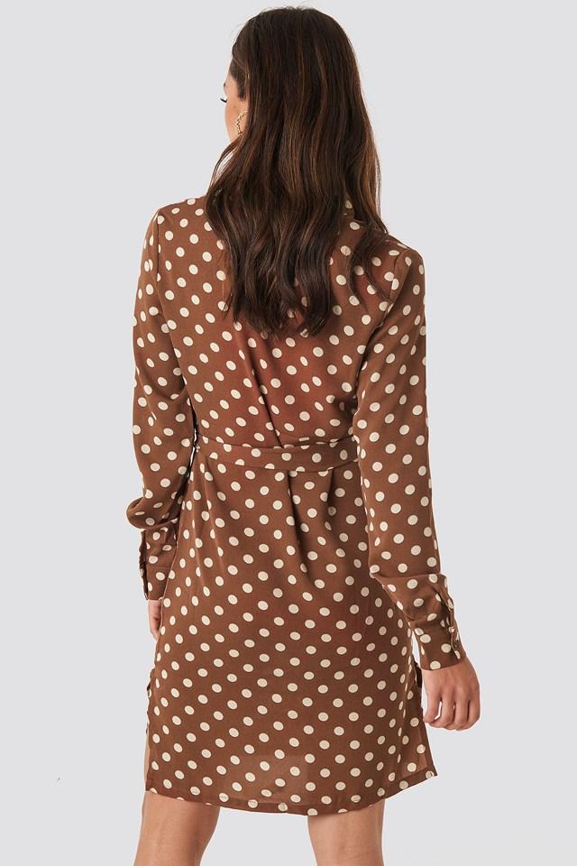 Dotted Tie Waist Slit Dress Brown
