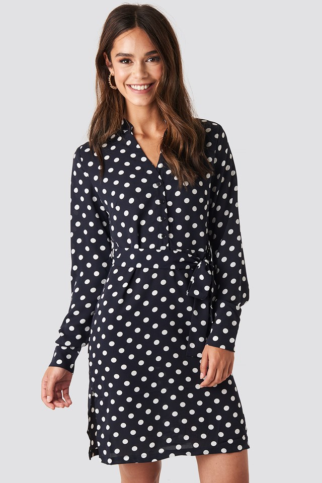 Dotted Tie Waist Slit Dress Navy