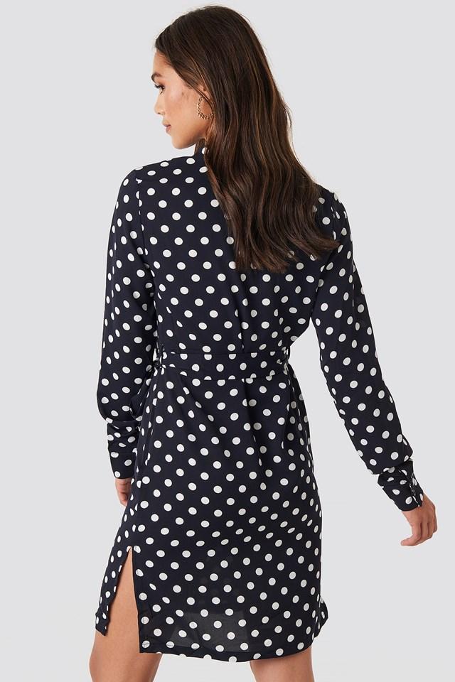 Dotted Tie Waist Slit Dress Navy