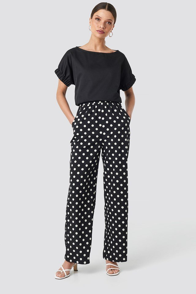 Dotted Wide Pants Black
