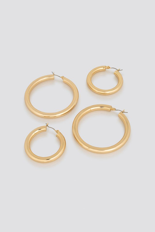 Double Back Basic Hoops Gold