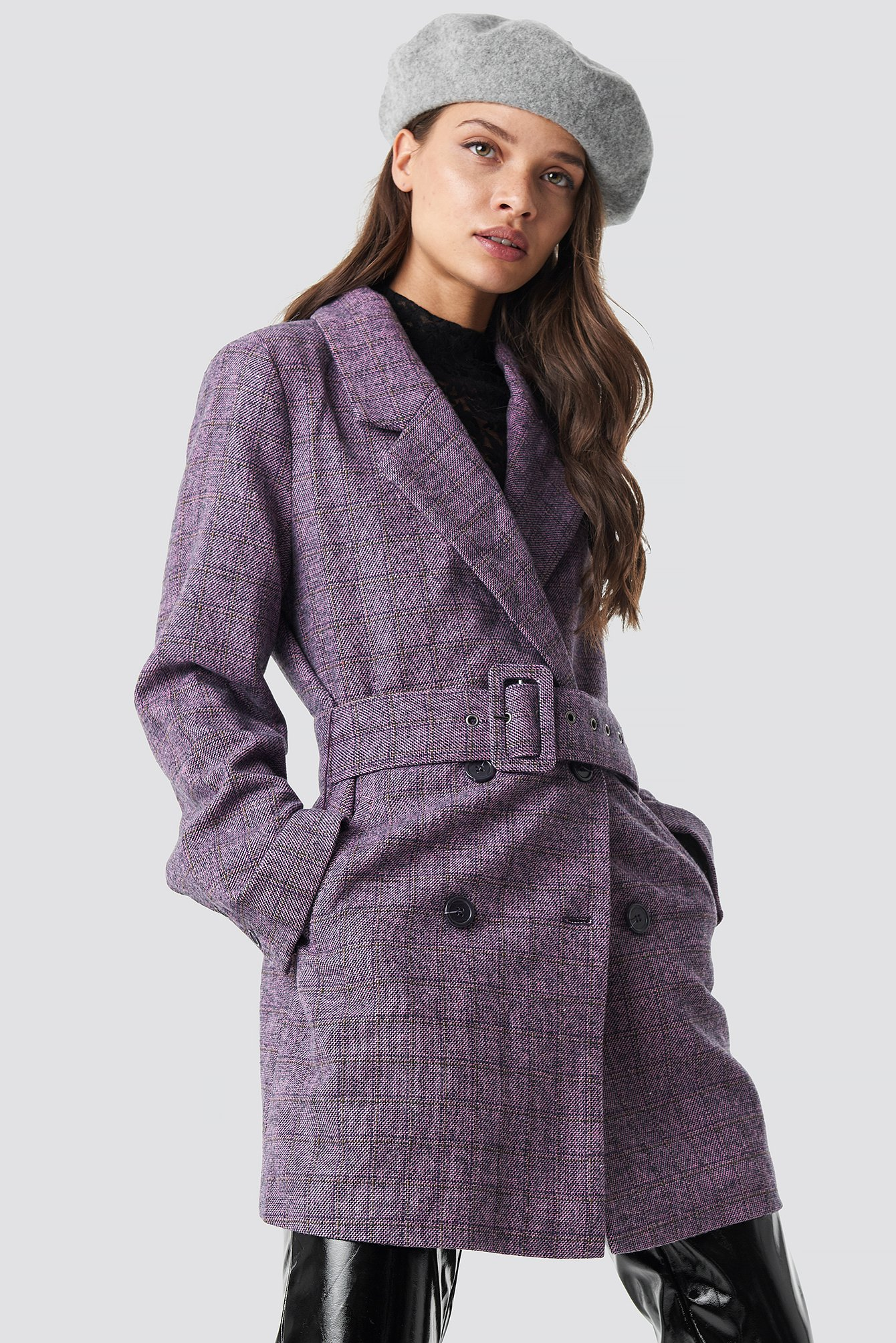 Double Breasted Belted Jacket Lila by Nakdclassic