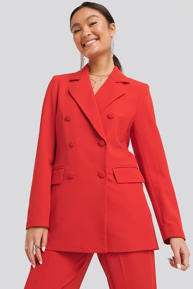 Double Breasted Blazer Red