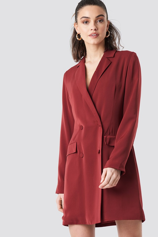 Double Breasted Blazer Dress Dark Burgundy