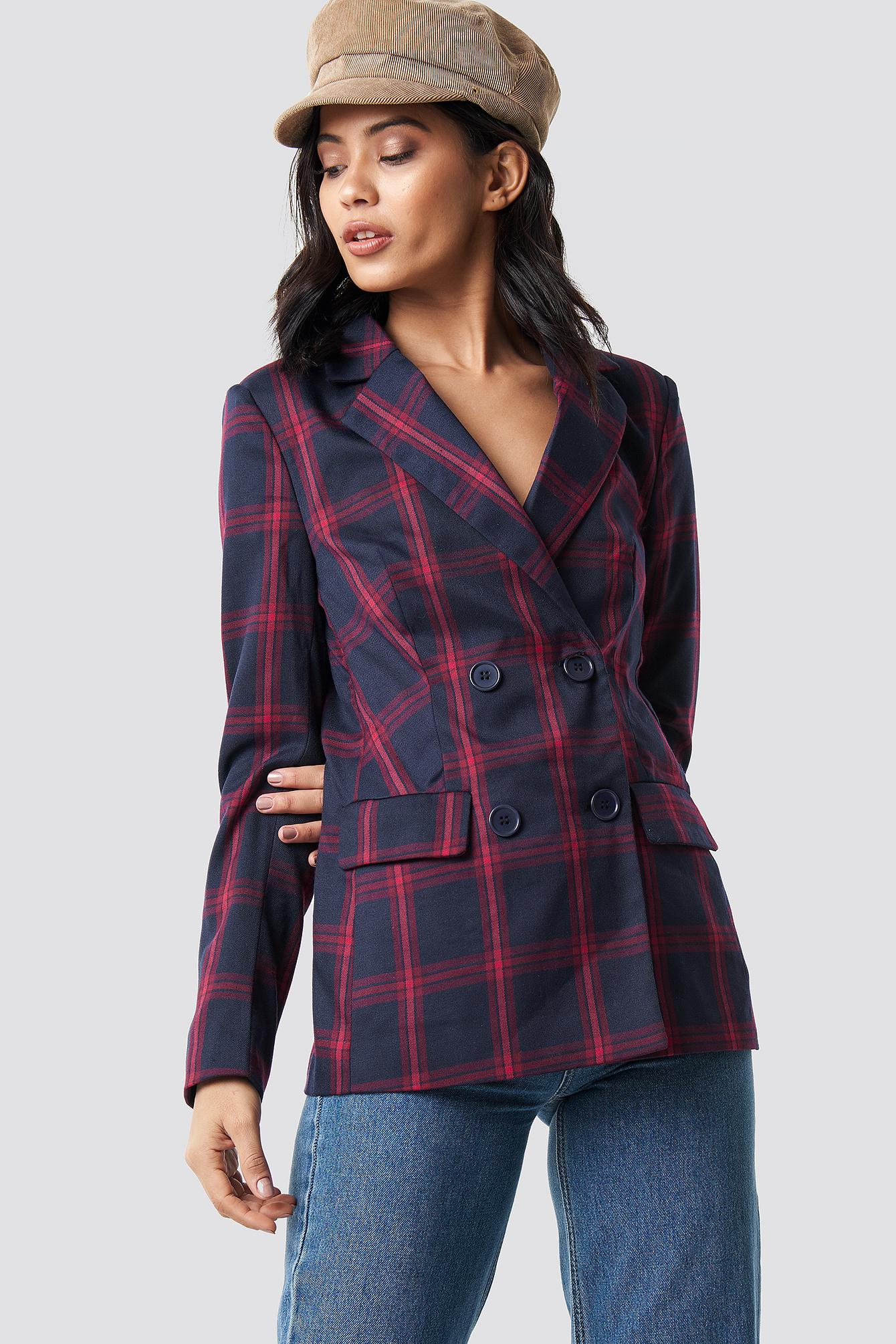Double Breasted Checkered Blazer NA-KD.COM