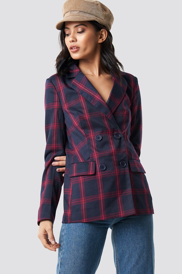 Double Breasted Checkered Blazer NA-KD Classic