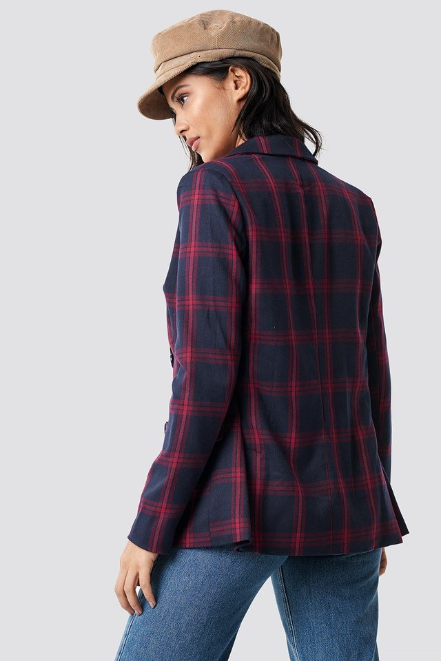 Double Breasted Checkered Blazer Checkered
