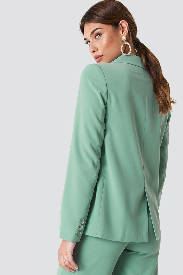 Double Breasted Loose Fit Blazer Dusty Green