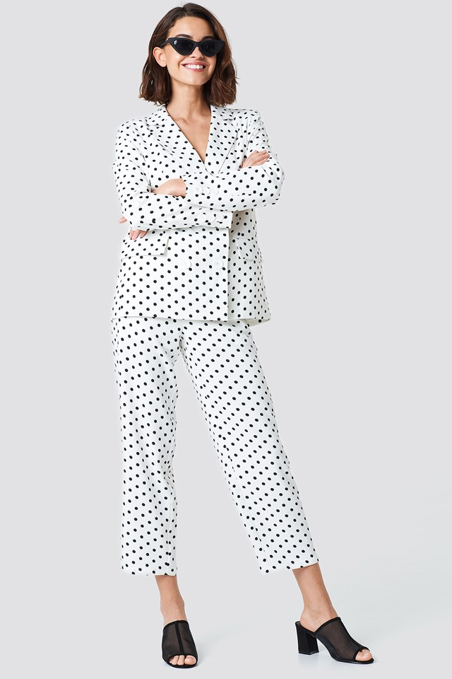 Double Breasted Loose Fit Blazer White/Black Dot