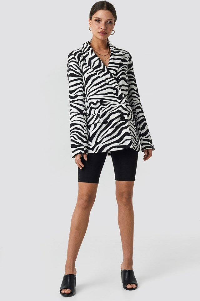 Double Breasted Oversized Blazer Zebra