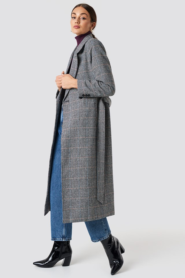 Double Breasted Plaid Coat NA-KD.COM