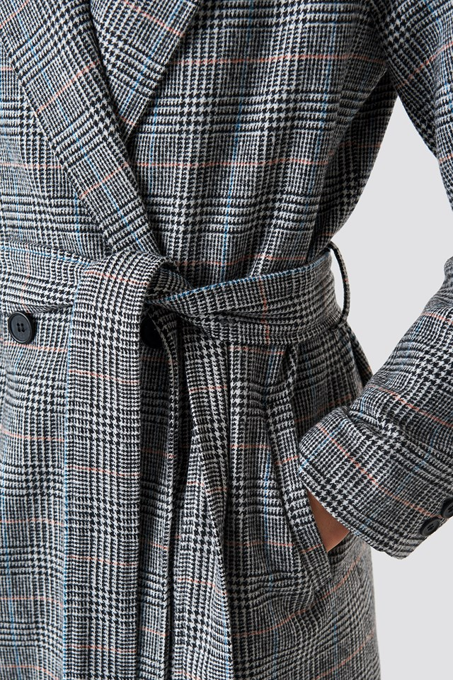 Double Breasted Plaid Coat Checked