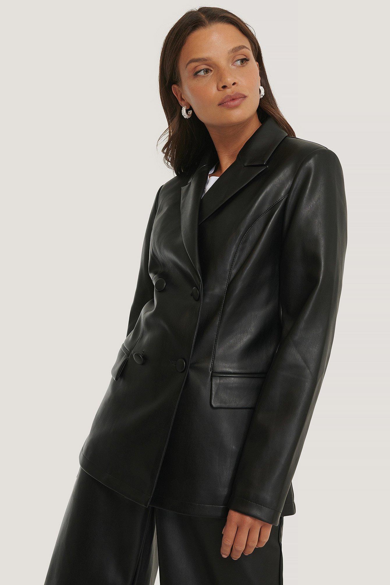 na-kd trend -  Zweireihiger Pu-Blazer - Black