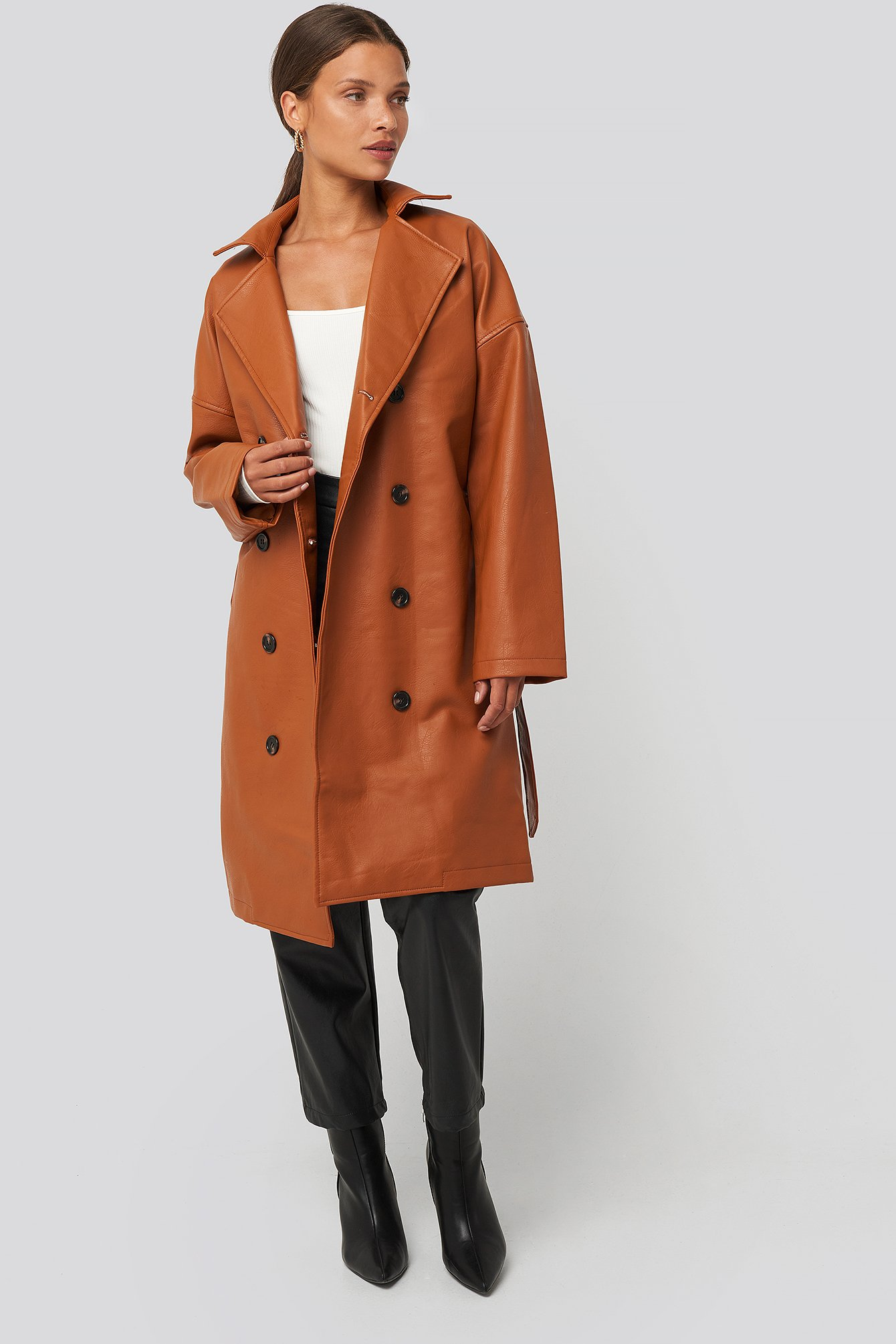 na-kd -  Double Breasted PU Coat - Brown