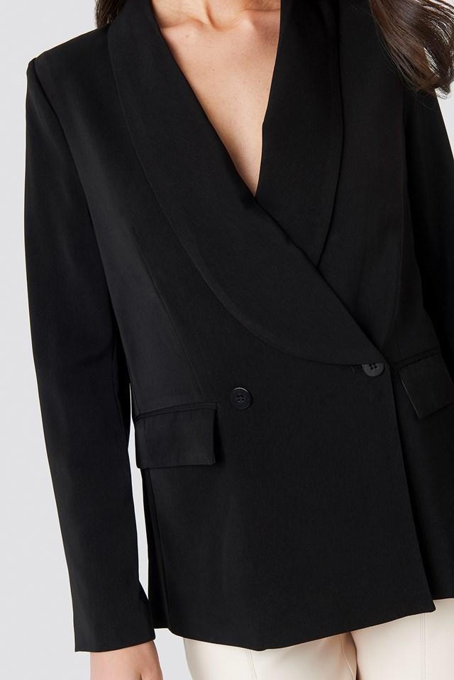Double Breasted Shiny Blazer Black