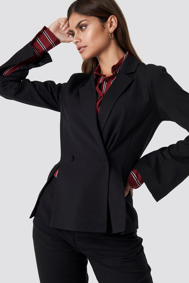 Double Breasted Slit Blazer Black