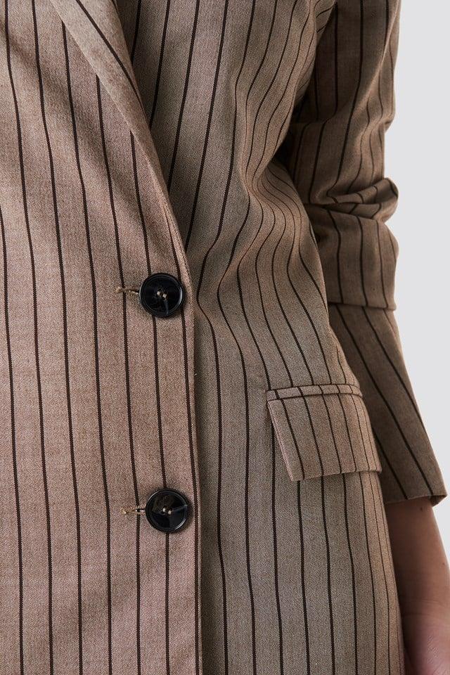 Double Breasted Striped Blazer Beige