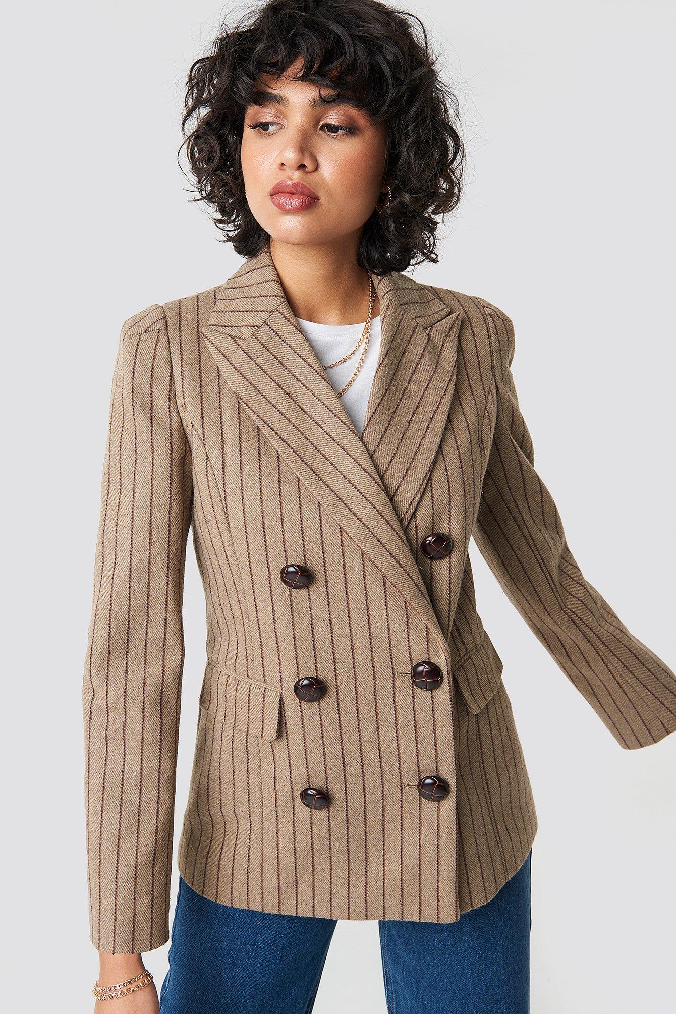 e5540e4a06 Double Breasted Striped Blazer Brown Stripe