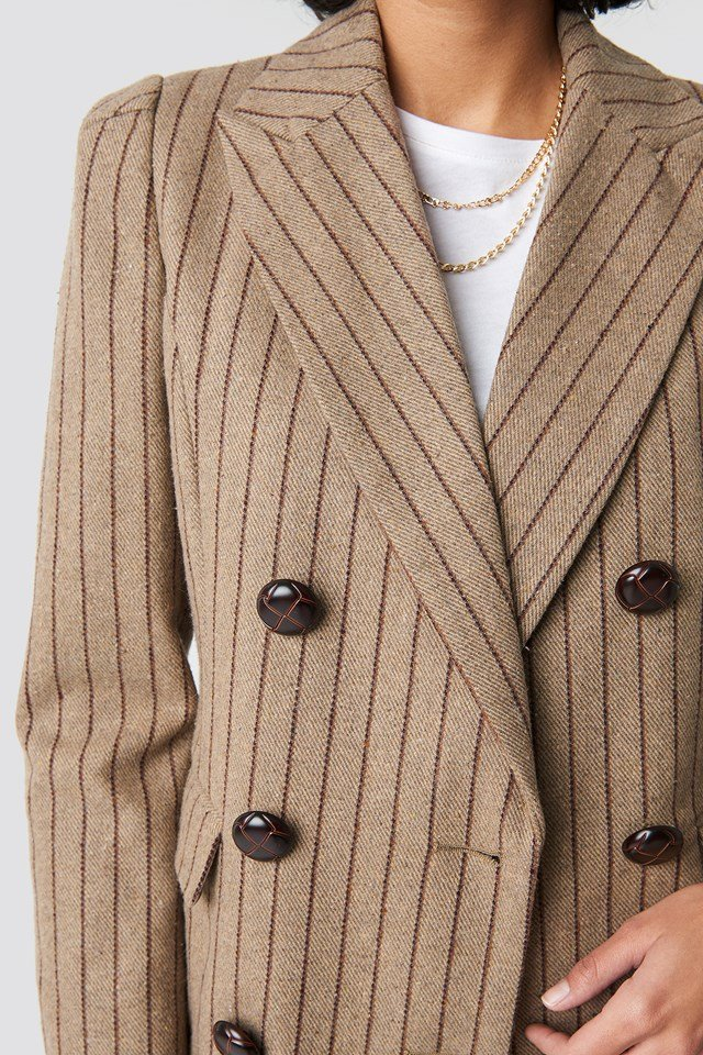 Double Breasted Striped Blazer Brown Stripe