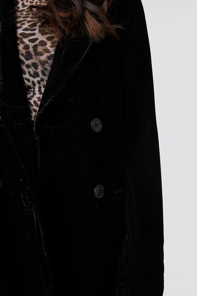 Double Breasted Velvet Blazer Black
