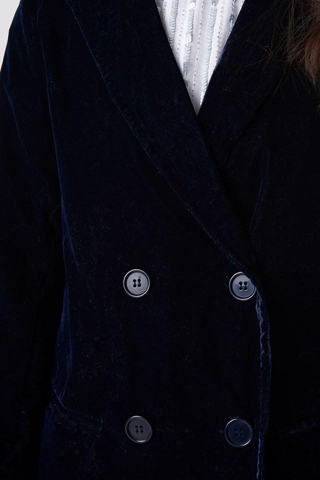 Aksamitna marynarka dwurzędowa Midnight Blue