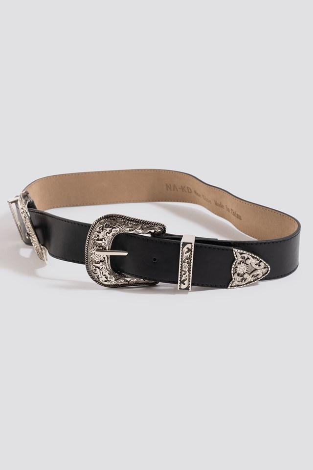 Double Buckle Belt Black
