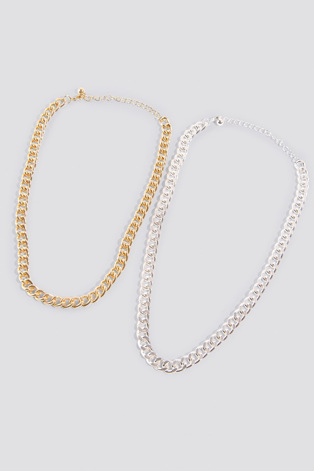 Double Chunky Chain Necklaces Gold/Silver