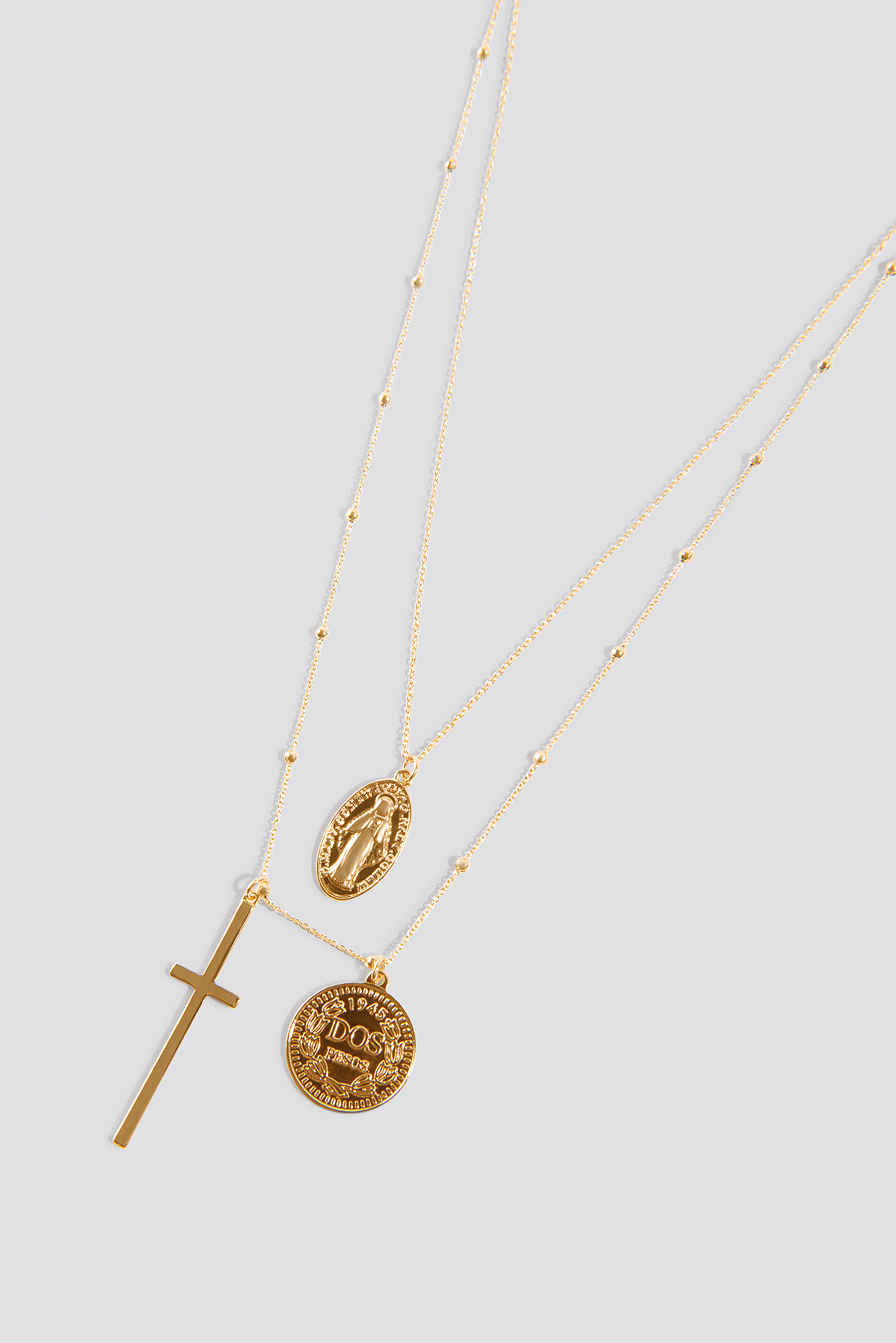 Double Coin And Cross Necklace NA-KD.COM