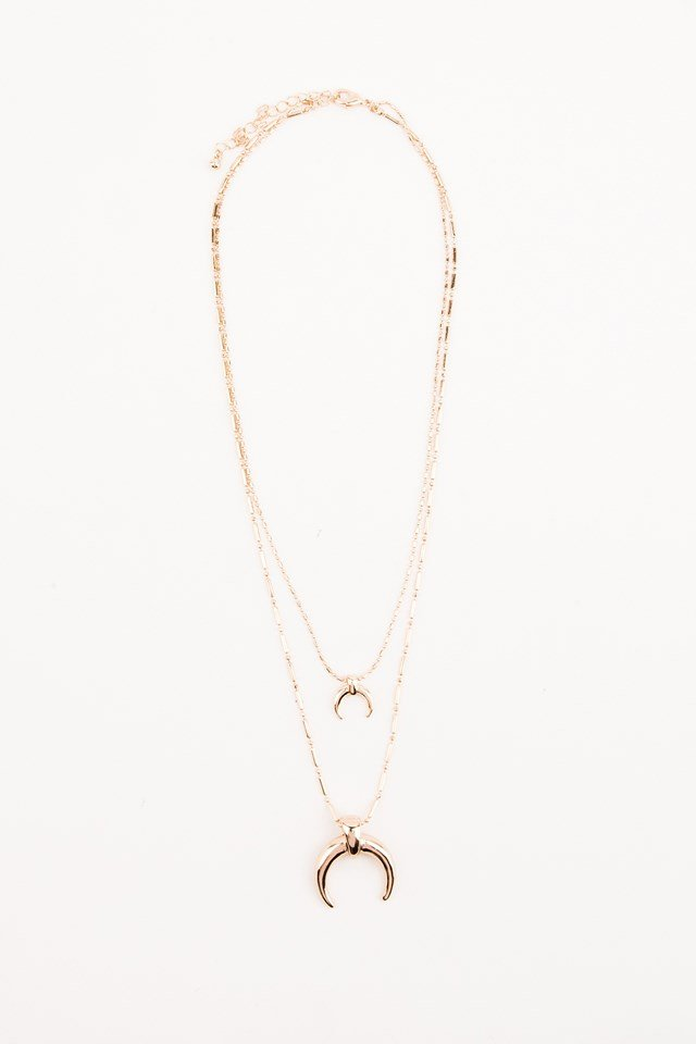 Double Crescent Structured Chain Necklace Gold