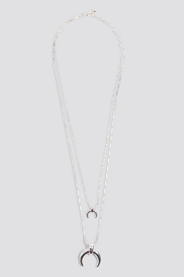 Double Crescent Structured Chain Necklace Silver