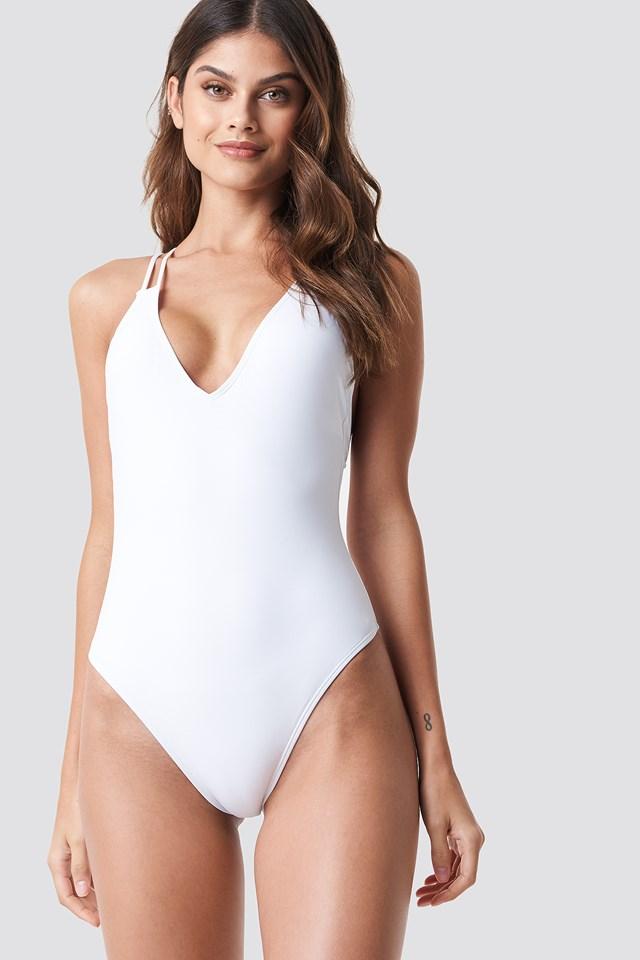 Double Cross Strap Swimsuit White
