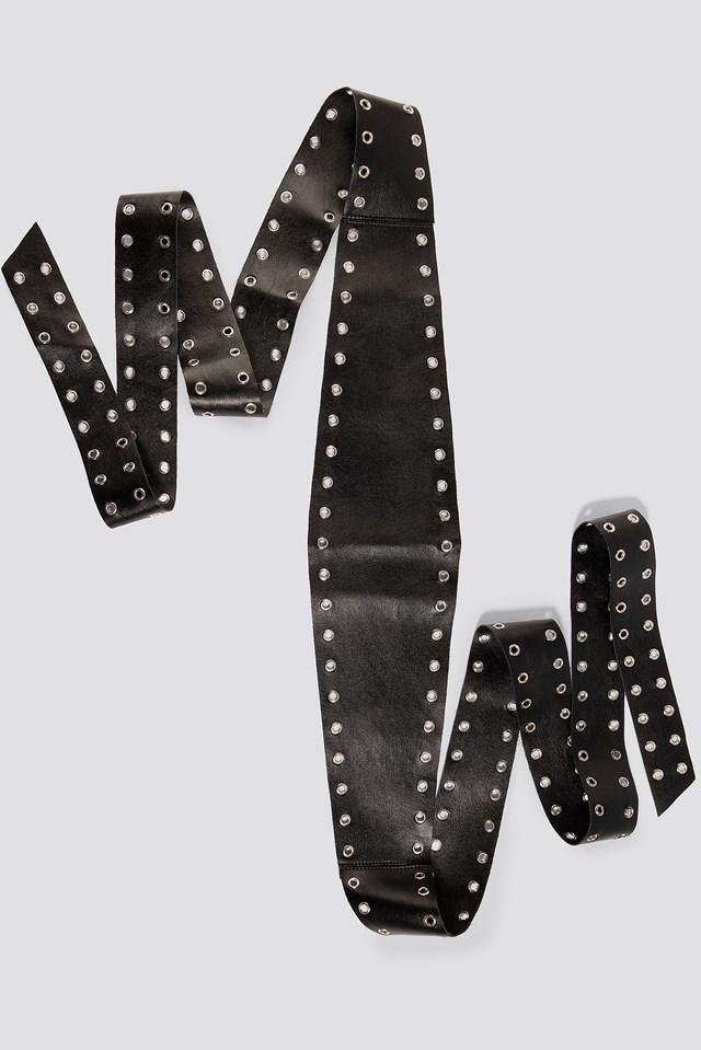 Double Eyelet Waist Belt Black