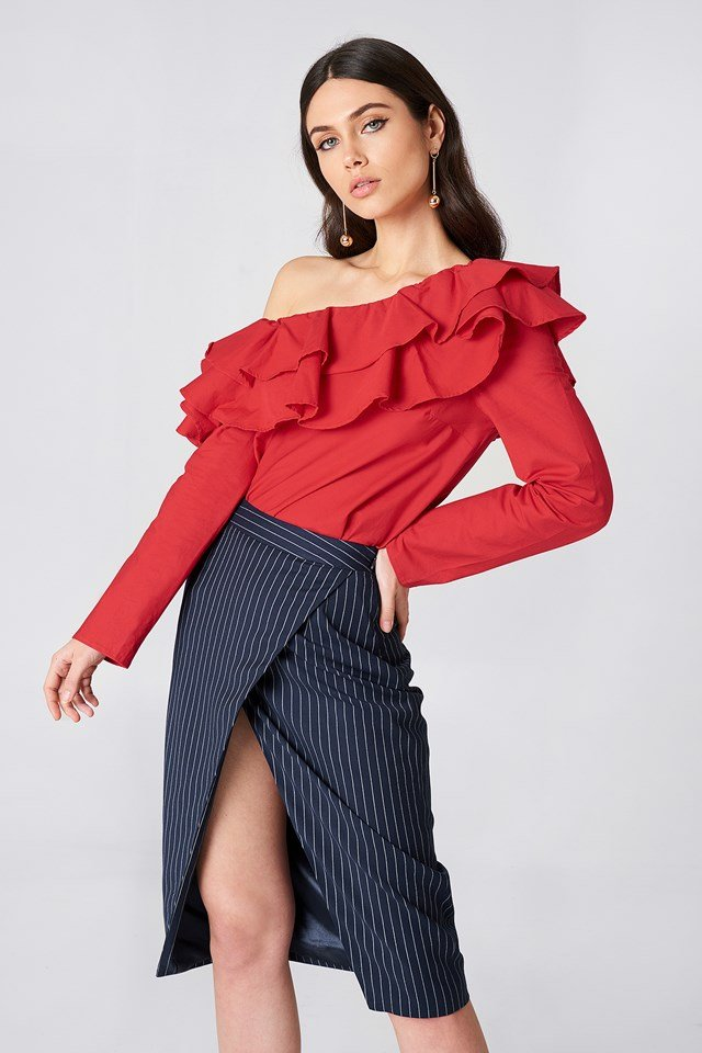 Double Frill Asymmetric Top Red