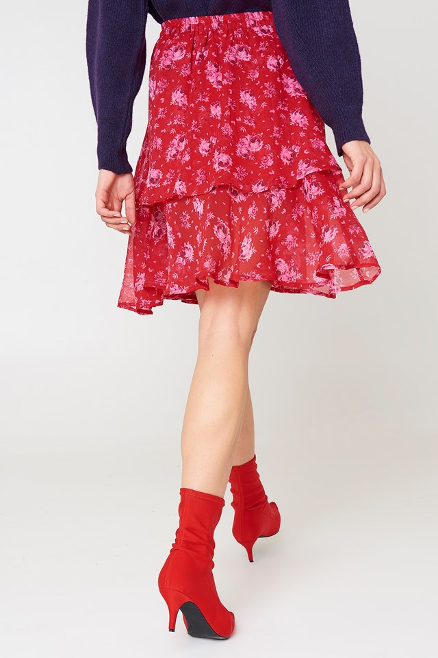 Double Frill Skirt Pink Peonies Pattern