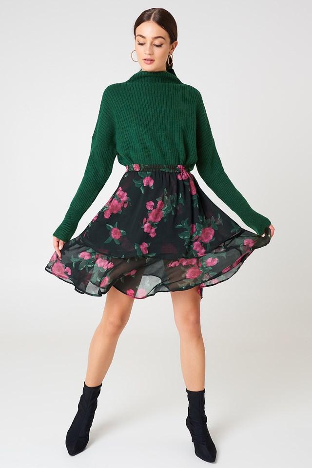 Double Frill Skirt Black/Pink Flower Print