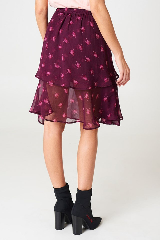 Double Frill Skirt Plum Floral