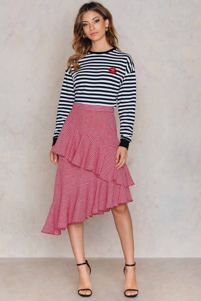 Double Layer Asymmetric Skirt White/Red