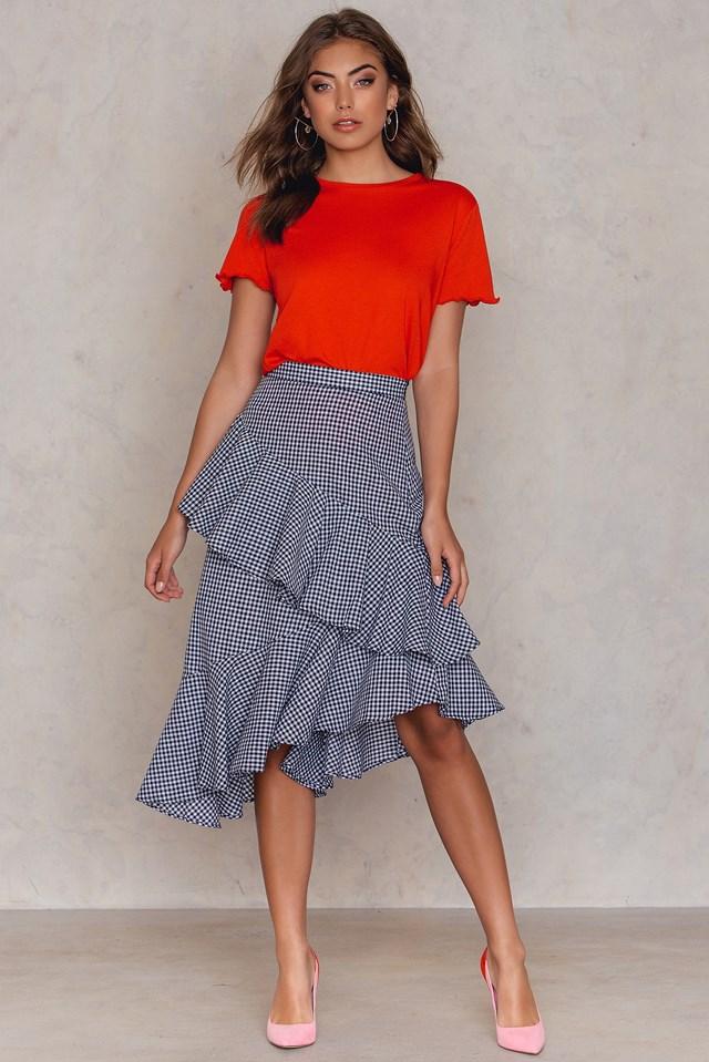 Double Layer Asymmetric Skirt Gingham