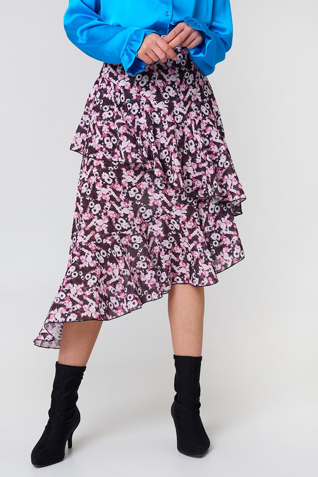 Double Layer Asymmetric Skirt Flower Print