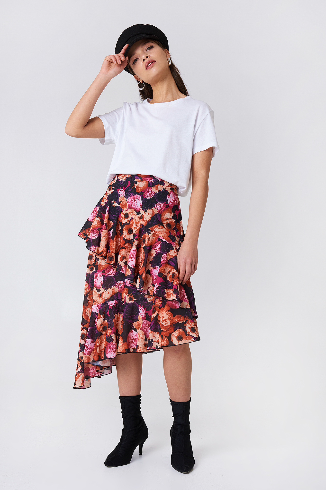 na-kd boho -  Double Layer Asymmetric Skirt - Pink,Orange