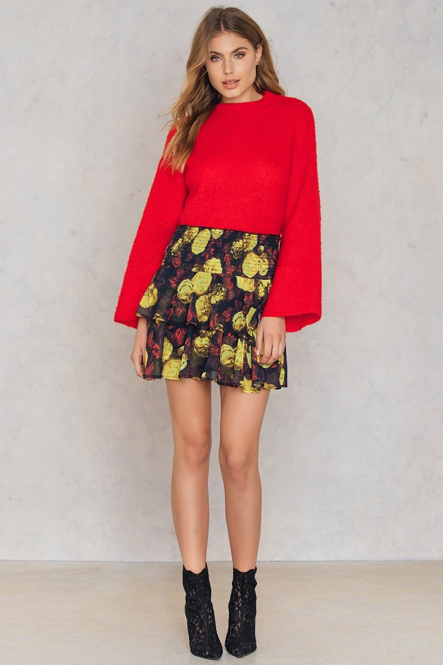 Double Layers Smock Skirt Red/Yellow Print