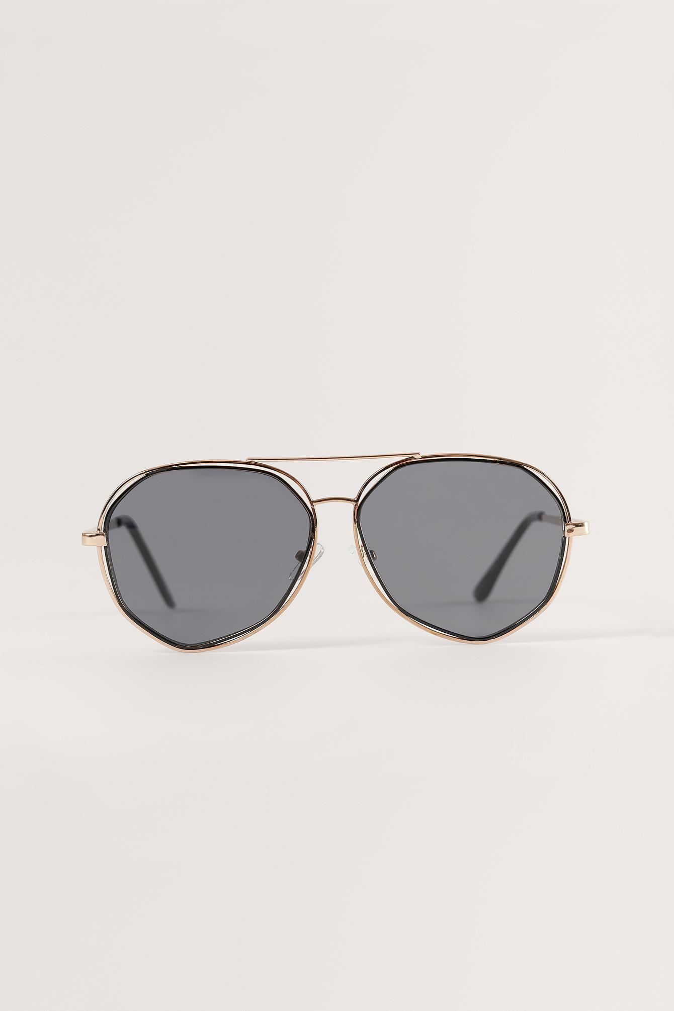 Na-kd Double Metal Pilot Sunglasses - Black