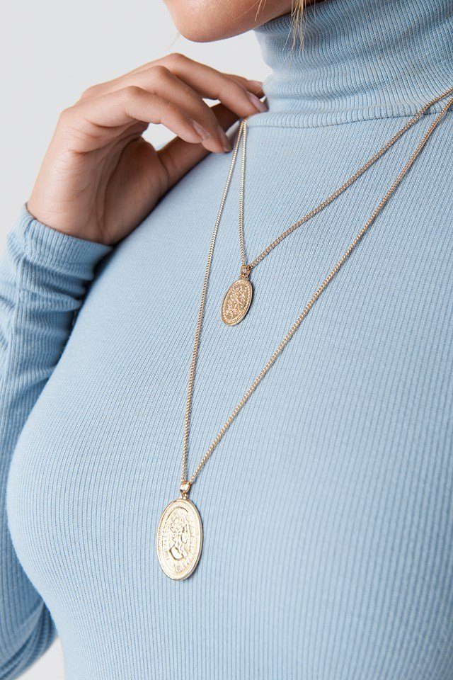 Double Oval Coin Necklace Gold