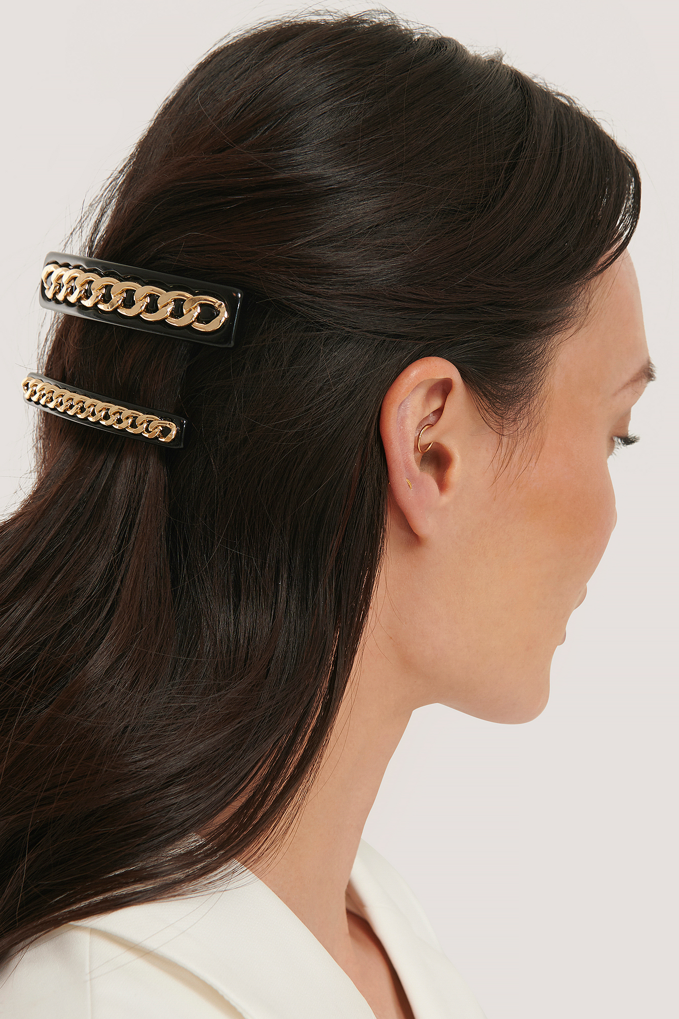 na-kd accessories -  Doppelpack Kette Detaillierte Haarspangen - Black