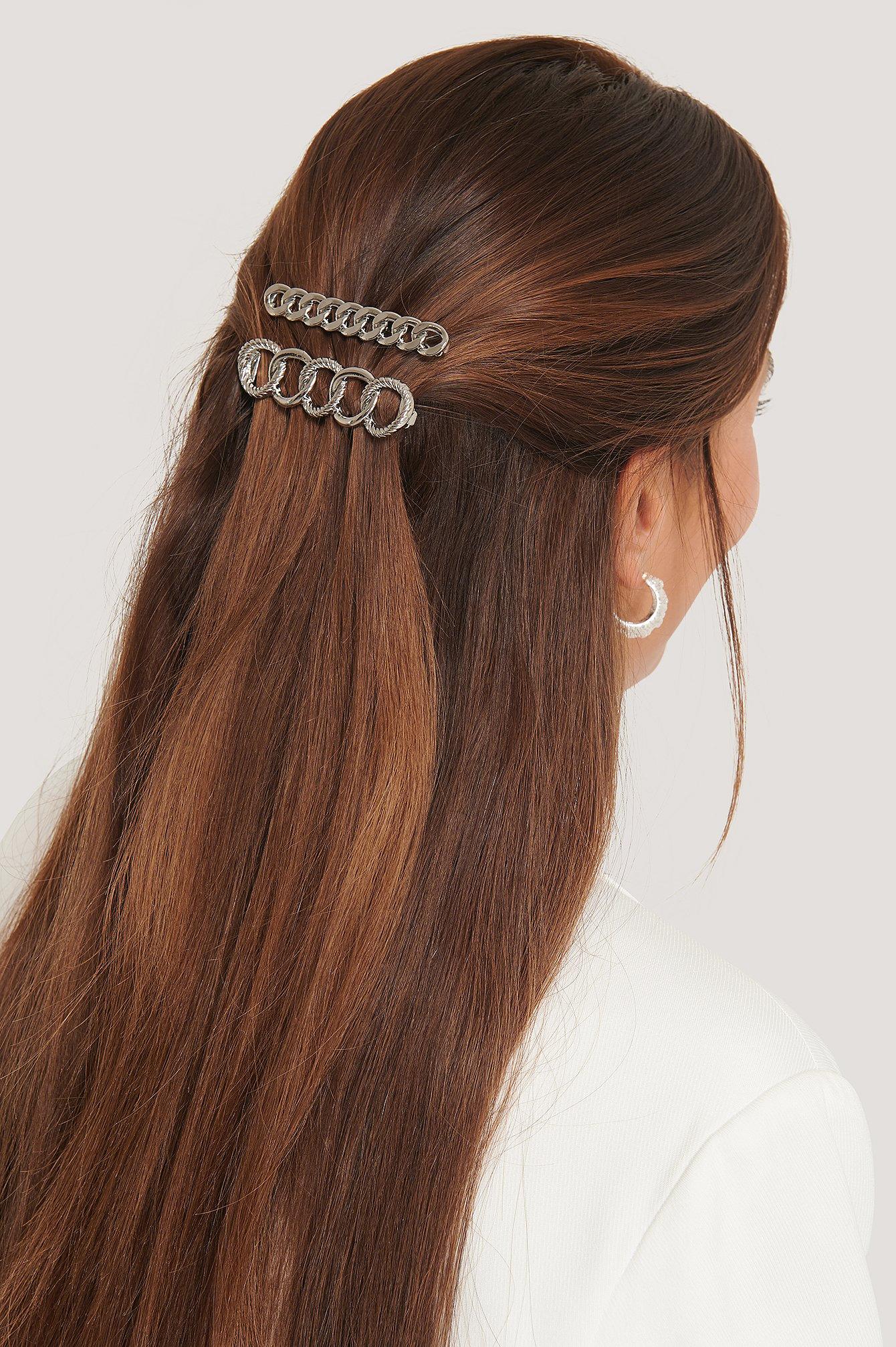 na-kd accessories -  Doppelpack Kette Haarspangen - Silver