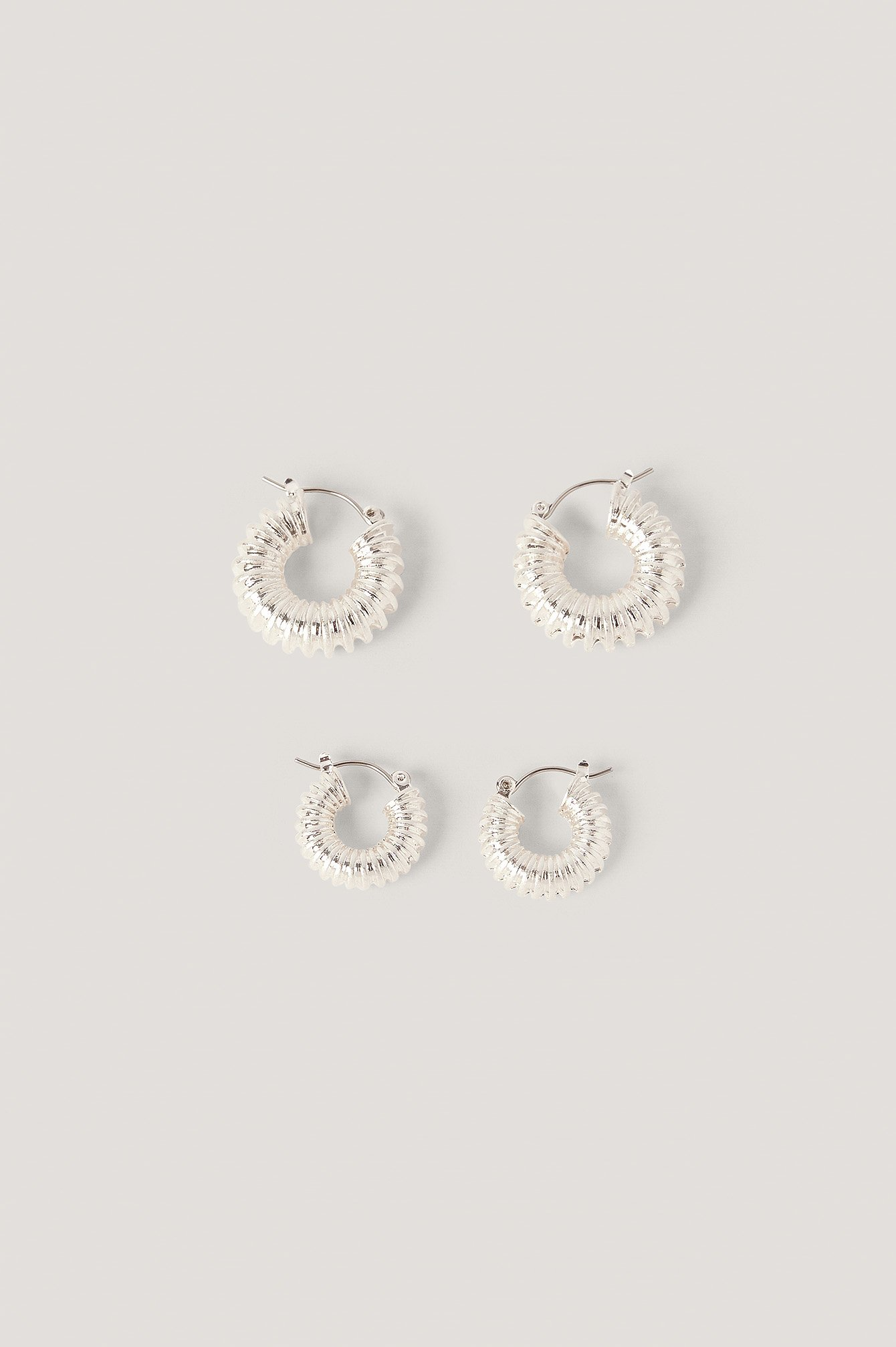 Silver Double Pack Chubby Ruffled Hoops