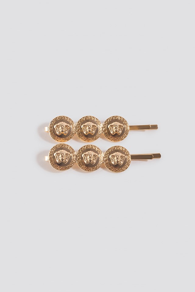 Double Pack Coin Hairclips Gold