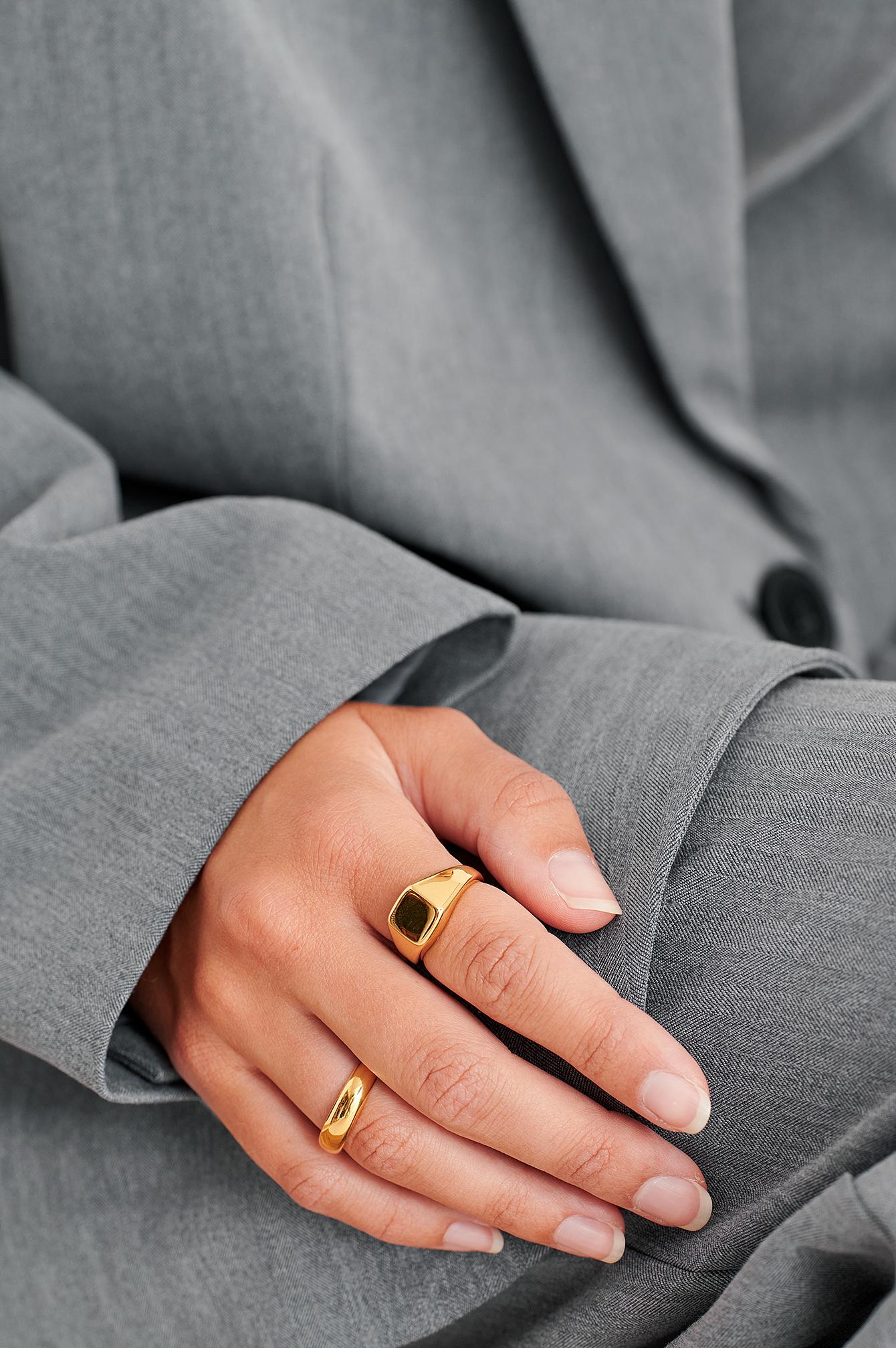 NA-KD Accessories Dobbeltpakke Med Ringe Med Guldbelægning - Gold